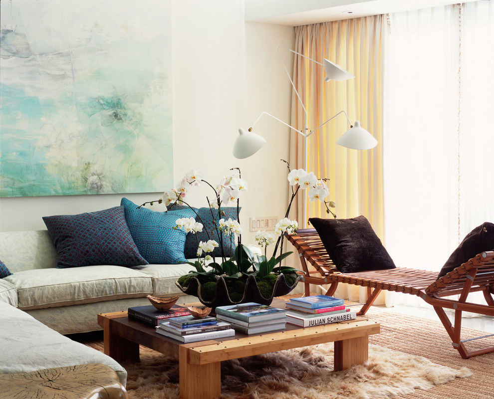 Raoul Textiles Living Room Contemporary with Art Artwork Blue Pillows Chaise Lounge Curtains