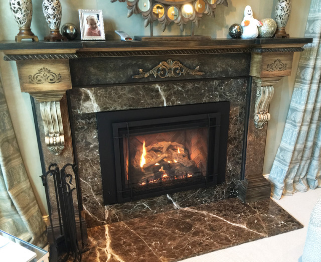 real fyre Family Room Traditional with brown granite Fireplace fireplace mantels fireplace screens gas fireplace