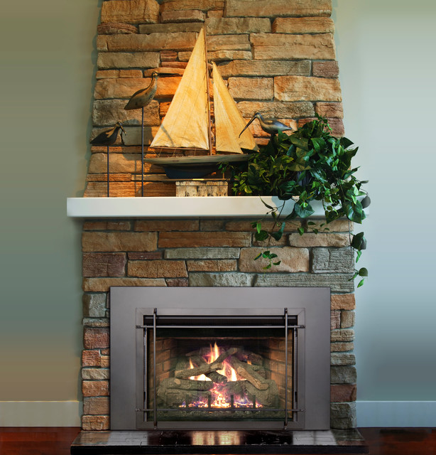 Real Fyre Living Room Beach with Real Fyre Direct Vent Insert with Wrought Iron Trim