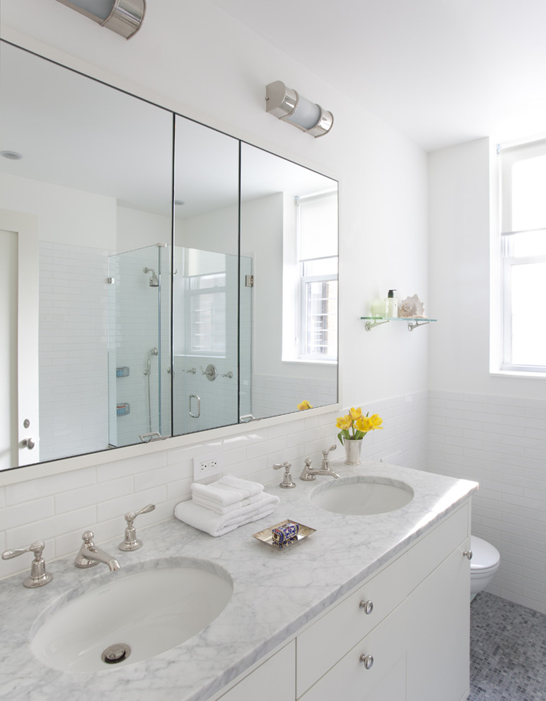 recessed medicine cabinets Bathroom Contemporary with double sink glass shower enclosure marble counter