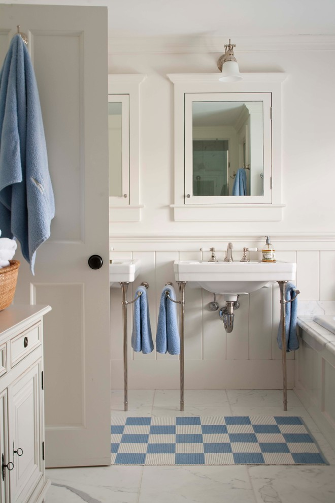 Recessed Medicine Cabinets Bathroom Traditional with Basket Checkerboard Console Sink Cottage Frame And