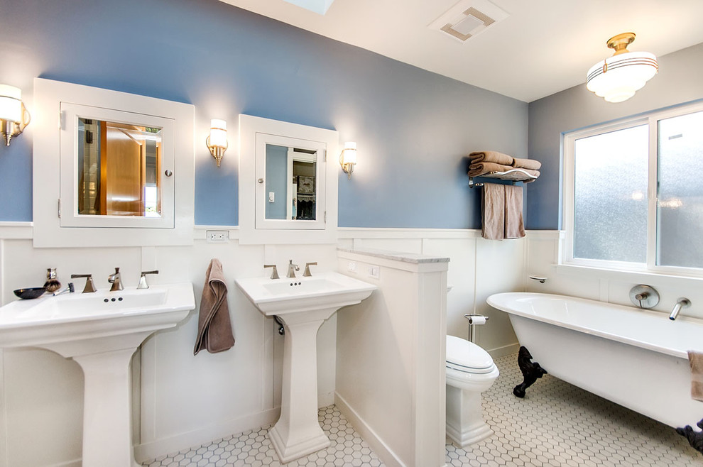 Recessed Medicine Cabinets Bathroom Traditional with Blue Walls Claw Foot Tub Freestanding Tub
