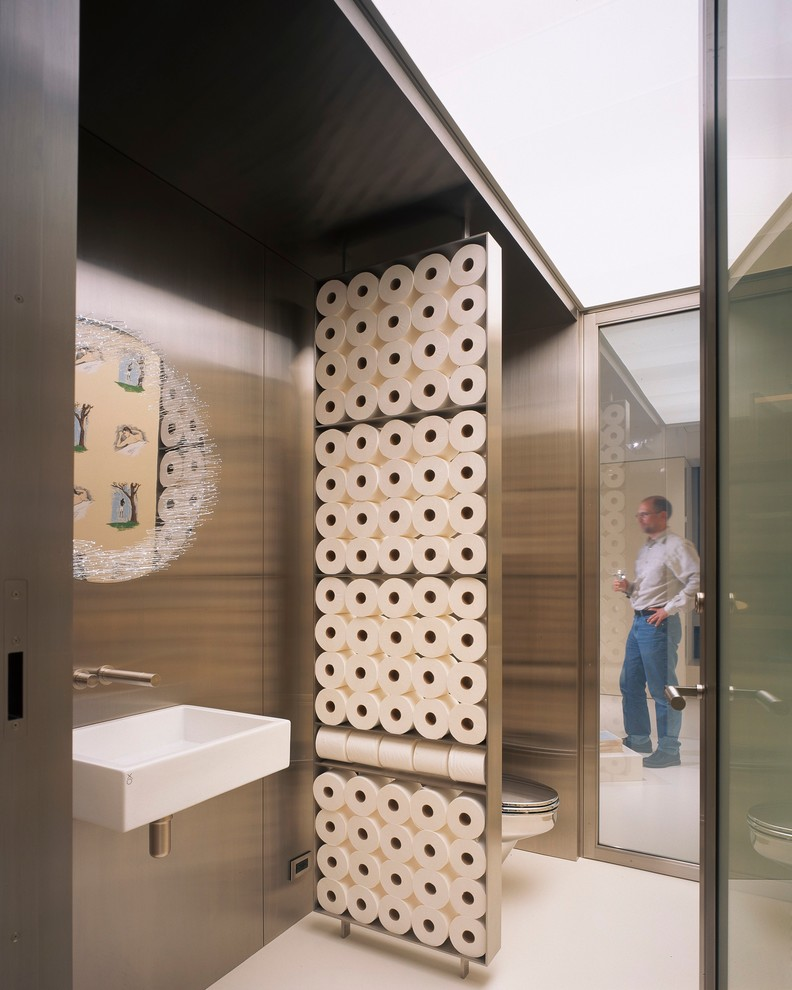 recessed toilet paper holder Powder Room Contemporary with glass wall partition privacy wall rectangular sink