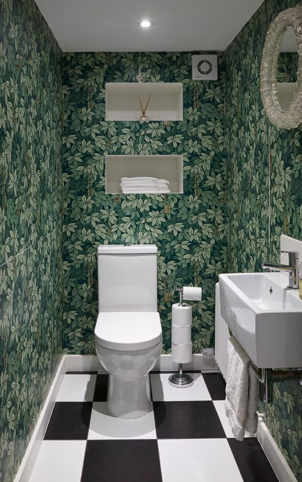 Recessed Toilet Paper Holder Powder Room Eclectic with Black and White Tiles Cellar Extentions Chequered
