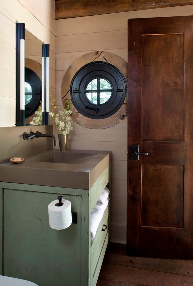 Recessed Toilet Paper Holder Powder Room Rustic with Concrete Countertop Concrete Sink Dark Hardware Green