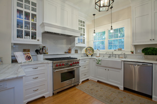 Recirculating Range Hood Kitchen Traditional with Apron Sink Farm Sink Farmhouse Sink Glass Front Cabinets
