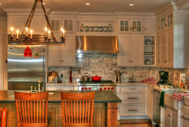 Recirculating Range Hood Kitchen Traditional with Barstools Chandelier Christopher Peacock Inspired Cottage Cottage Barstools English