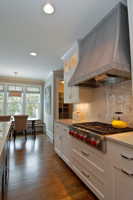 Recirculating Range Hood Kitchen Transitional with Dining Table Drawer Pulls Drum Shade Frame and Panel
