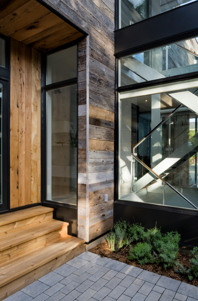 Reclaimed Wood Bookcase Entry Contemporary with Entryway Glass Staircase Glass Stairwell Knotty Siding