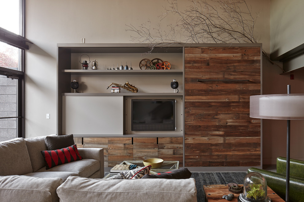 Reclaimed Wood Bookcase Living Room Industrial with Barn Wood Beige Sectional Beige Sofa Beige