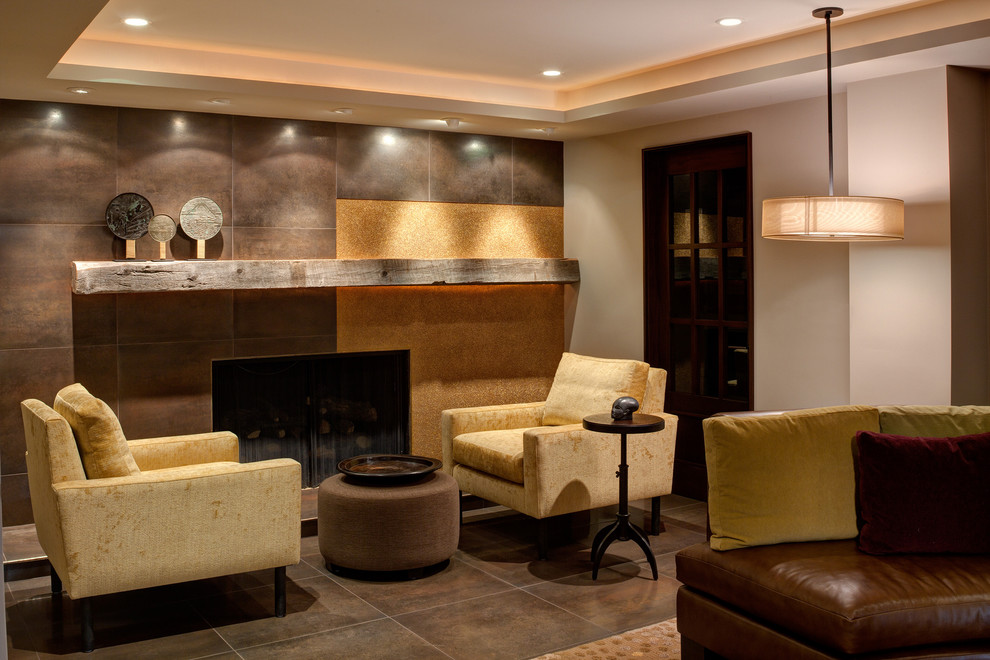 Reclaimed Wood Chicago Basement Contemporary with Corner Door Earth Tones Fireplace Mantle Pendant