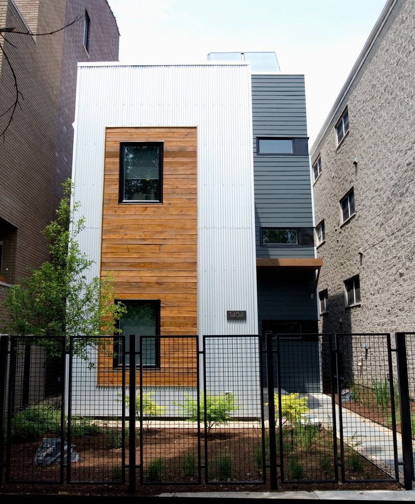 Reclaimed Wood Chicago Exterior Contemporary with Corrugated Metal Exterior Corrugated Metal Siding House