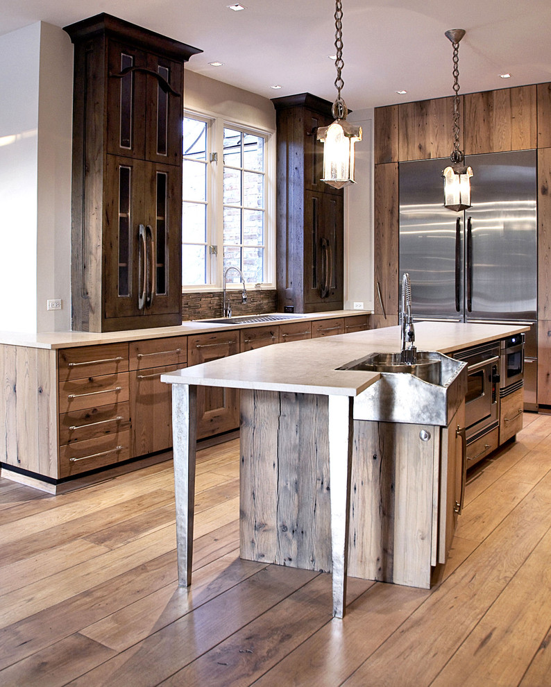 Reclaimed Wood Chicago Kitchen Contemporary with Dark Wood Cabinets Glass Cabinets Kitchen Bar