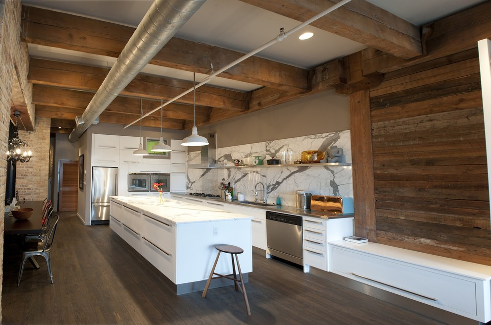 Reclaimed Wood Chicago Kitchen Rustic with Breakfast Bar Brick Wall Ductwork Eat In