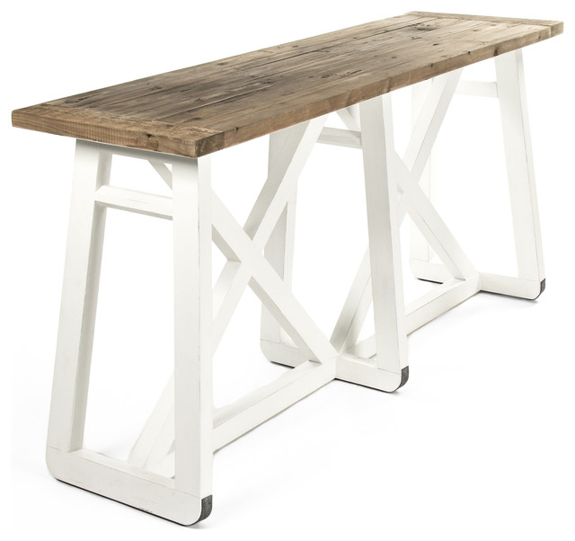 Reclaimed Wood Console Table with Coastal Beach Console Table White Wood Console Table White