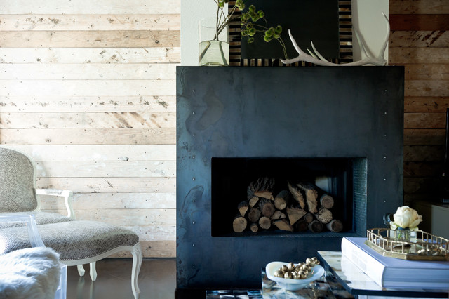 Reclaimed Wood Dallas Living Room Eclectic with Antlers Bergre Chair Black and White Dark Floor Fireplace