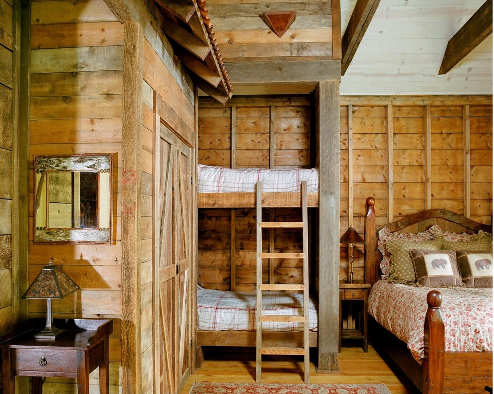 Reclaimed Wood Denver Bedroom Traditional with Brown Throw Pillow Built in Bunk Bed Bunk