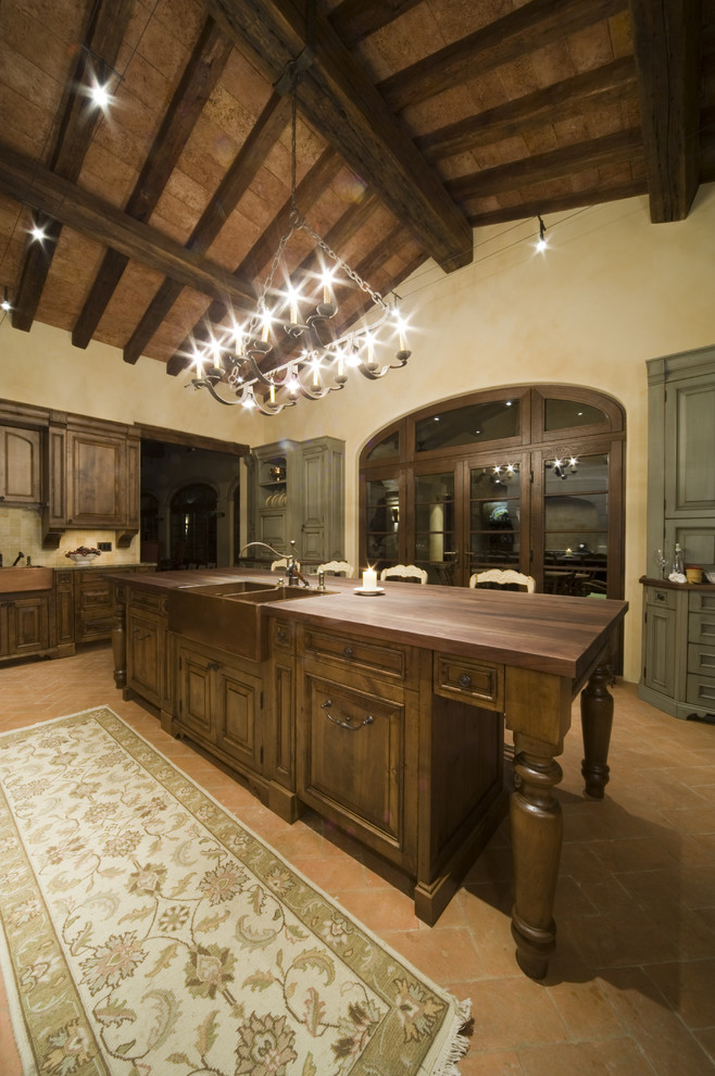 Reclaimed Wood Denver Kitchen  Rustic With Cable Lighting Floor Tile Island Lighting Kitchen