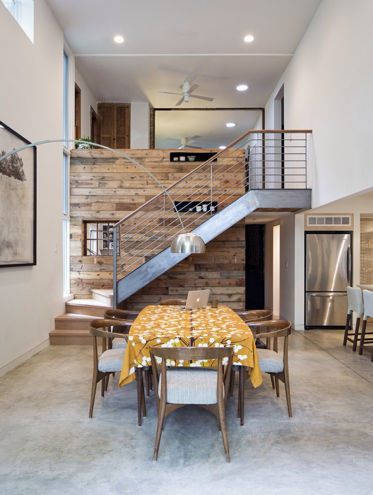 Reclaimed Wood Dresser Dining Room Contemporary with Addition Arc Lamp Clerestory Windows Loft Modern