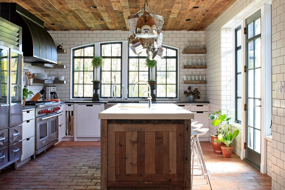 Reclaimed Wood Dresser Kitchen Contemporary with Arched Window Black Range Hood Contemporary Copper