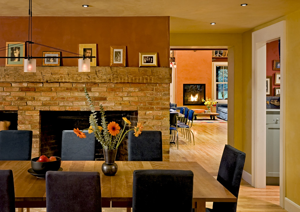Reclaimed Wood Mantel Dining Room Contemporary With Baseboards Brick Fireplace Surround Wall Ceiling