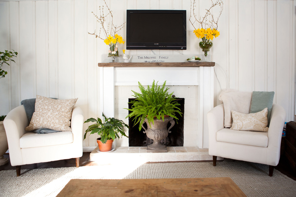 Reclaimed Wood Mantel Living Room Traditional With Armchair Beadboard Beige Patterned Throw Pillow Fireplace
