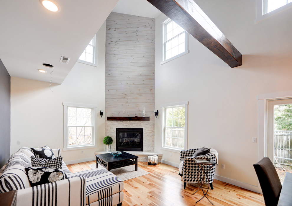 Reclaimed wood mantel living room transitional with barn for Exposed beam ceiling living room