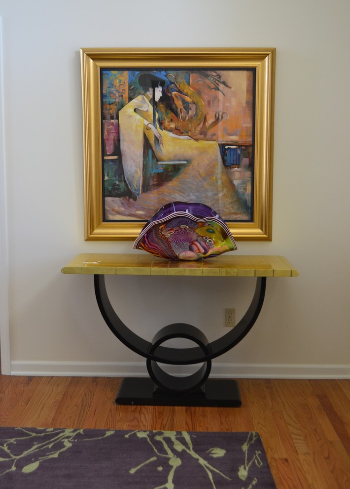 Reclaimed Wood Media Console Entry Contemporary with Artwork Console Contemporary Artwork Contemporary Design