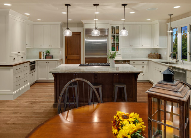 Reclaimed Wood Seattle Kitchen Traditional with Beige Ceiling Cooktop Dark Wood Barstool Dark Wood Dining