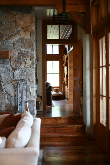 Reclaimed Wood Seattle Living Room Rustic with Cabin Concrete Columns Fireplace French Doors Great Room Heavy