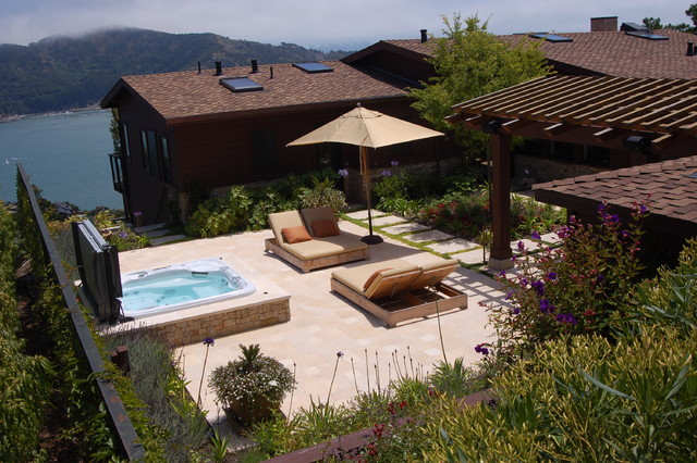 recliner cover Patio Mediterranean with hot tub Landscape outdoor beige chaise lounge outdoor beige