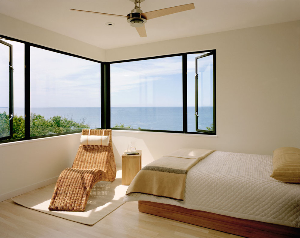 Reclining Chaise Bedroom Modern with Casement Windows Ceiling Fan Chaise Lounge Coastal
