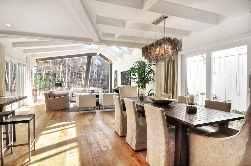 Rectangular Chandelier Dining Room Contemporary with Dark Wood Dining Table Great Room Living