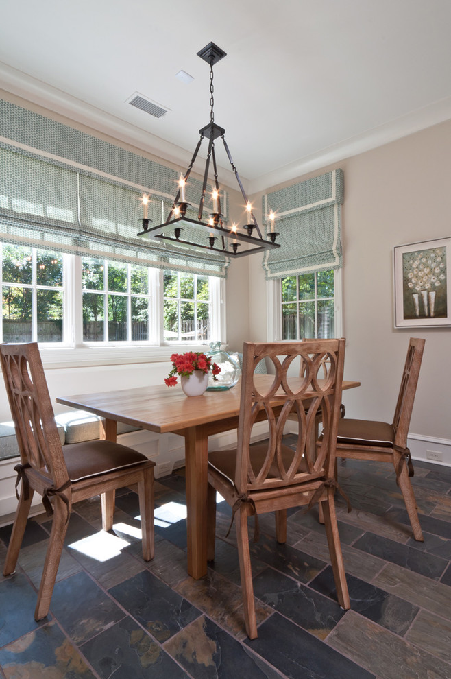 Rectangular Chandelier Dining Room Transitional with Aqua Banquette Baseboards Bay Window Bench Blue