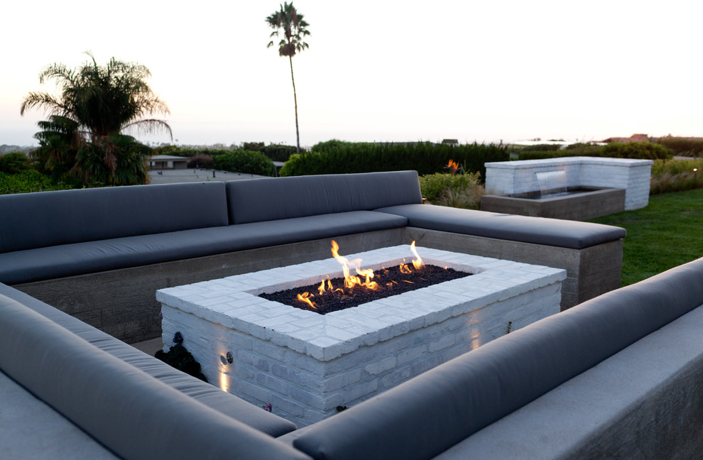 Rectangular Fire Pit Patio Contemporary with Built in Seating Concrete Benches Cushions Firepit Gray