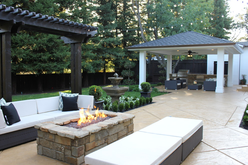 Rectangular Fire Pit Patio Traditional with Backyard Bbq Bead Board Cabana Ceiling Fan