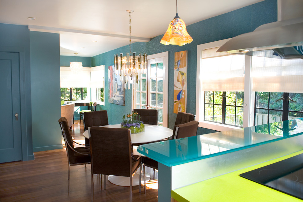 Recycled Glass Countertops Cost Dining Room Contemporary With Blue Walls Bold Colors Bright Centerpiece