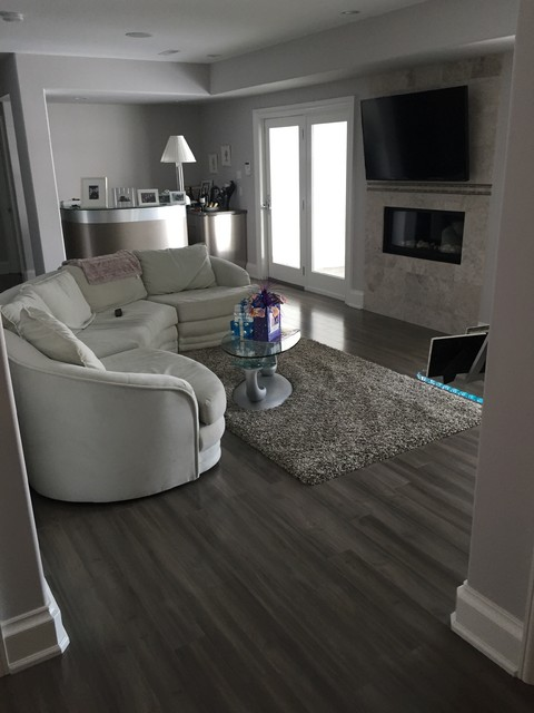 Red Shag Rug Family Room Modern with Armstrong Laminate Fireplace Grey Area Rug Grey Floor Grey