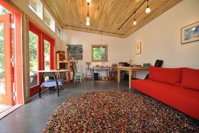 Red Shag Rug Home Office Contemporary with Art Studio Clerestory Windows Garage Guest House Guest Studio