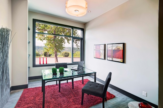 Red Shag Rug Home Office Contemporary with Beige Walls Black Baseboard Black Trim Drum Shade Glass