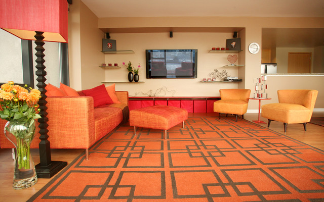 Red Shag Rug Living Room Contemporary with Area Rug Art City Views Cocktail Table Comfortable Contemporary