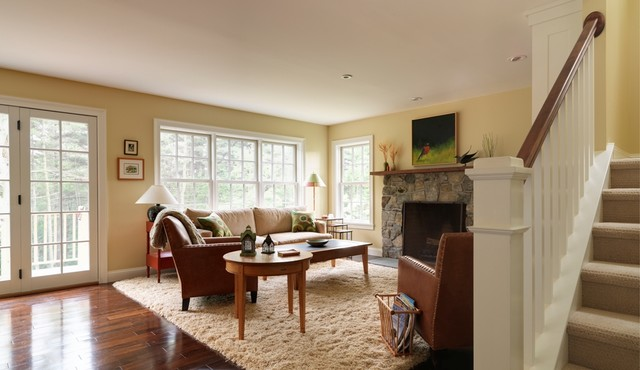 Red Shag Rug Living Room Traditional with Area Rug Baseboards Ceiling Lighting Double Hung Windows End