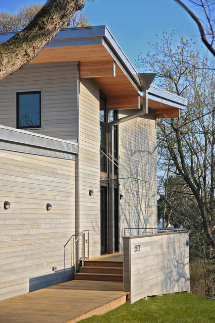 Redwood Siding Exterior Contemporary with Bamboo Bay Butterfly Roof Cable Railings Corner Window Cypress