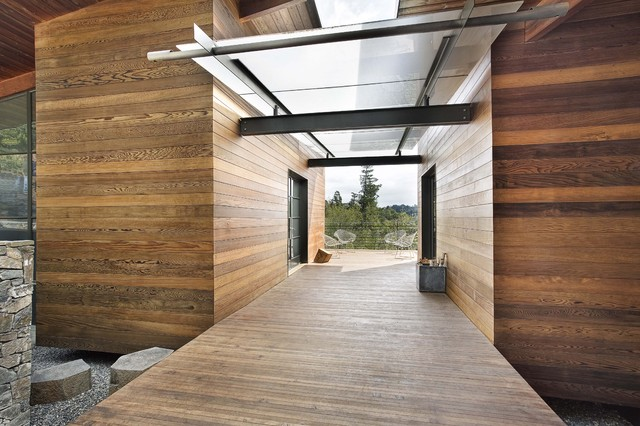 Redwood Siding Exterior Modern with Architectural Steel Bertoia Chair Breezeway California Contemporary Covered Walkway