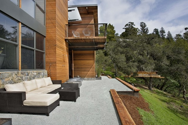 Redwood Siding Patio Contemporary with California Cantelever Deck Exterior Seating Gravel Marin Metal Railing