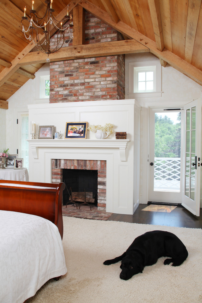 Reface Fireplace Bedroom Farmhouse with Barn Brick Chimney Cathedral Ceiling Chandelier Farmhouse