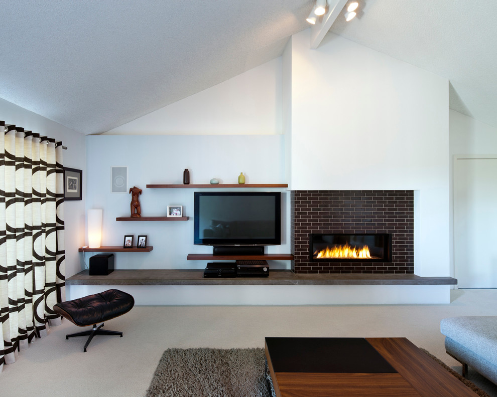 Refacing Fireplace Living Room Modern with Area Rug Black and White Drapes Brick