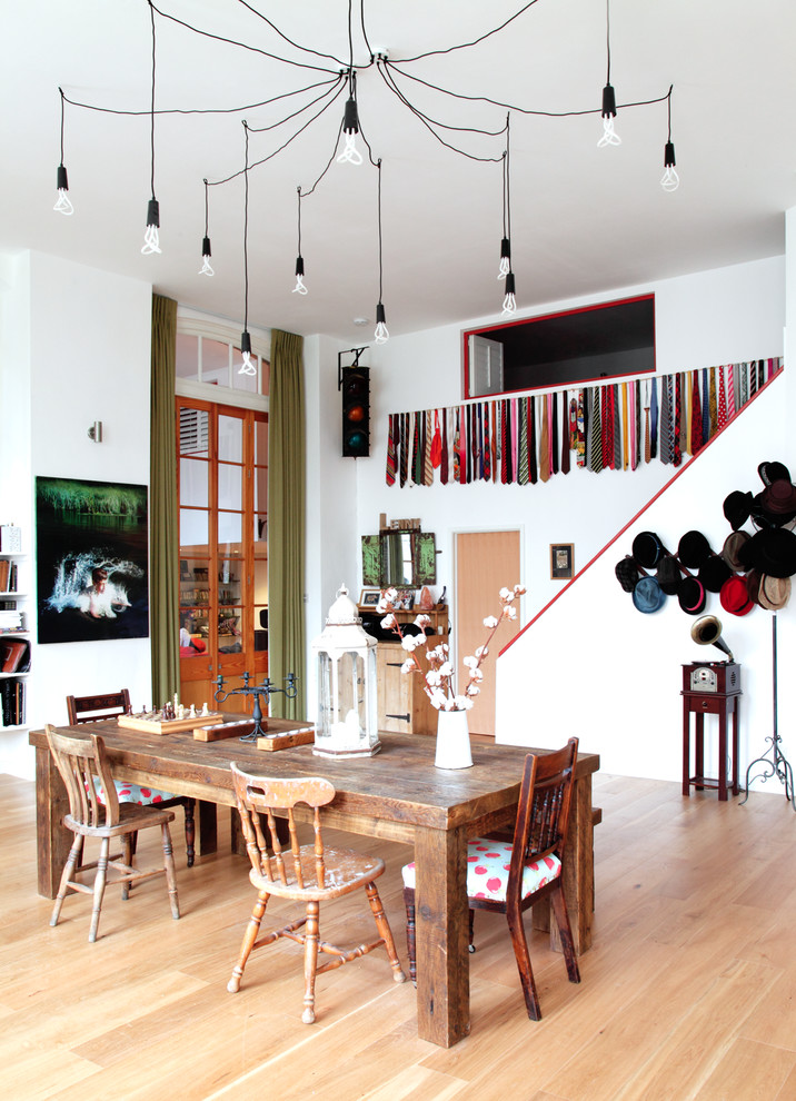Refectory Table Dining Room Eclectic With Clothes Storage Cluster Pendant Lights Colourful Draped