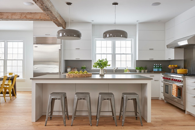 Refrigerator Lowes Kitchen Contemporary With Farmhouse Grey Countertop Metal Stools Pendant Lights White