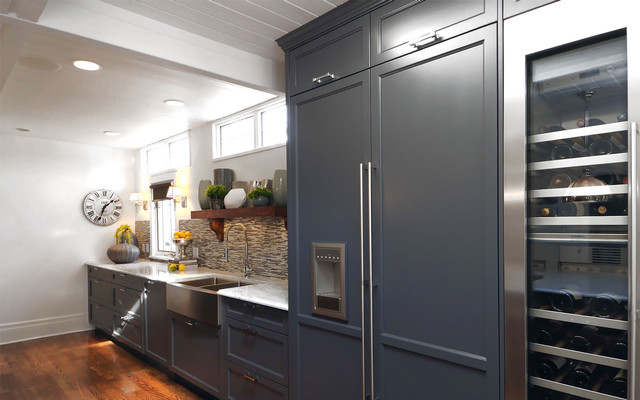 Refrigerator Lowes Kitchen Transitional with Apron Sink Blue Cabinets Cabinet Front Refrigerator Ceiling Lighting